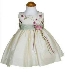 Ivory/Sage Girls Dress - 0228