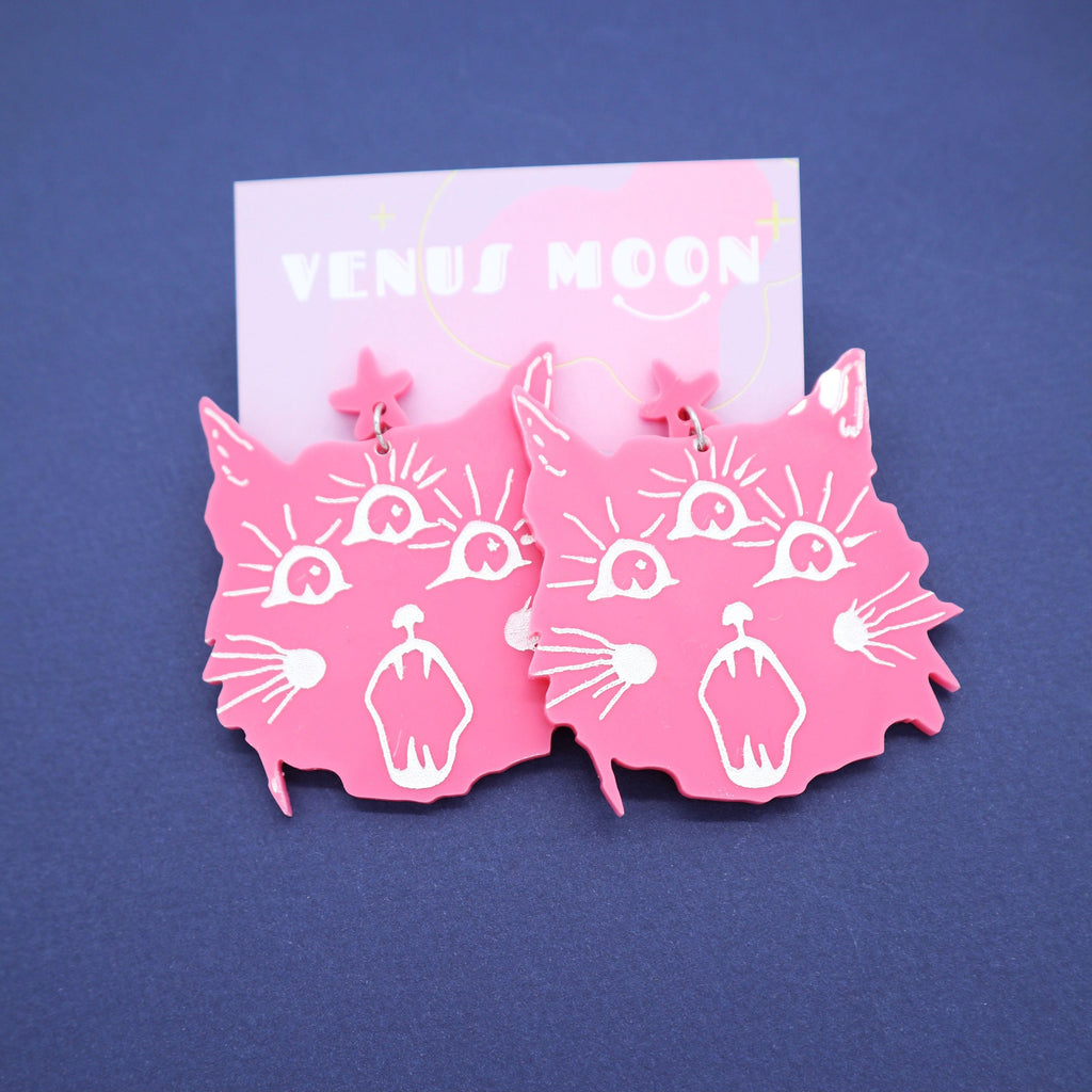 Kitty Earrings Jewelry Venus Moon Pink