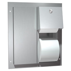 ASI 0032 Toilet Paper Dispenser Dual Twin Hide-A-Roll Partition Mounted - Satin