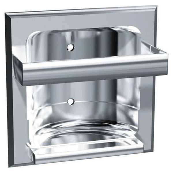 ASI 0410 Soap Dish w/ Bar Zamac Dry Wall Holes Recessed - Triple Plated