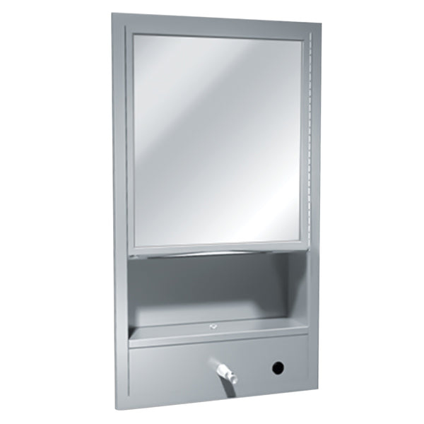 ASI 0430-9 Traditional All Purpose Cabinet w/ Shelf, Mirror, Towel & Liquid Soap Dispenser Surface Mounted - Satin
