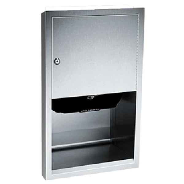 ASI 045210A-6 Traditional Automatic Roll Paper Towel Dispenser Semi-Recessed - Satin