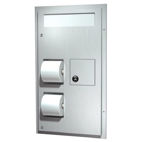 ASI 0481-R Seat Cover Dispenser w/ Toilet Paper Dispenser & Sanitary Disposal Dual Access Partition Mounted - Satin