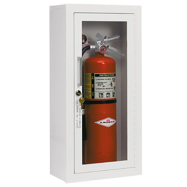 JL Industries 1013G10 Ambassador Fire Extinguisher Cabinet Full Glass w/ Pull Handle & SAF-T-LOK
