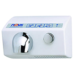 World Dryer 11200000 NOVA 5 Push Button Hand Dryer Aluminum Surface Mounted - White