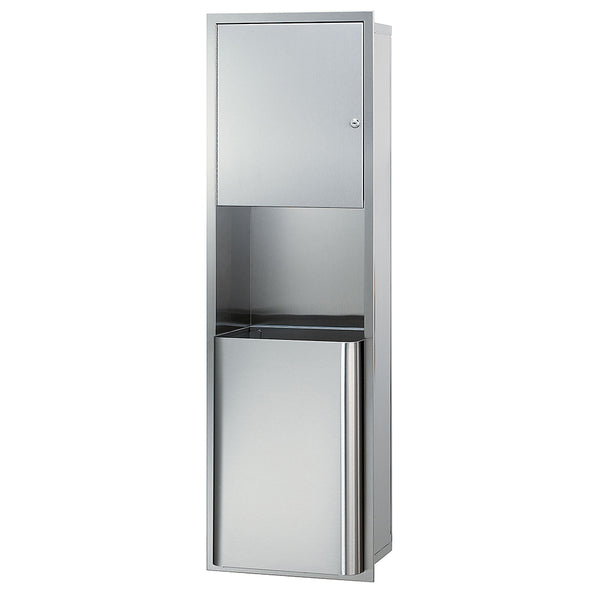 Bradley 2271-0000 Paper Towel Cabinet & Waste Receptacle Recessed - Satin - Prestige Distribution