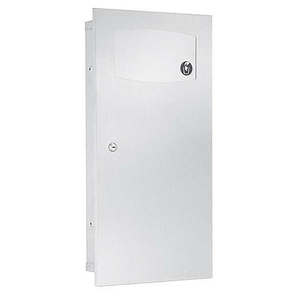 Bradley 3257-1000 Contemporary Waste Receptacle Frameless 2.8 Gal. Semi-Recessed - Satin - Prestige Distribution