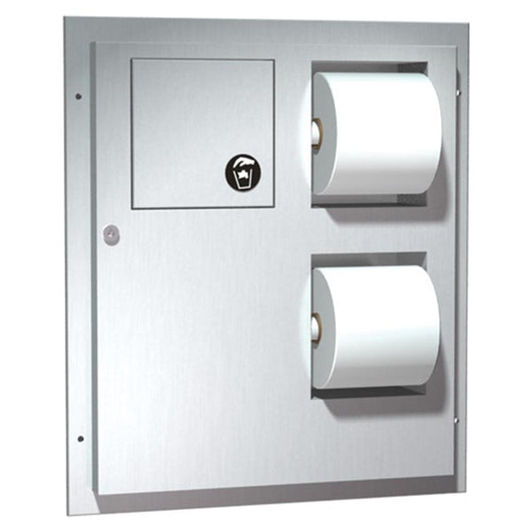 ASI 04813 Toilet Paper Dispenser w/ Sanitary Napkin Disposal Dual Access Partition Mounted - Satin - Prestige Distribution