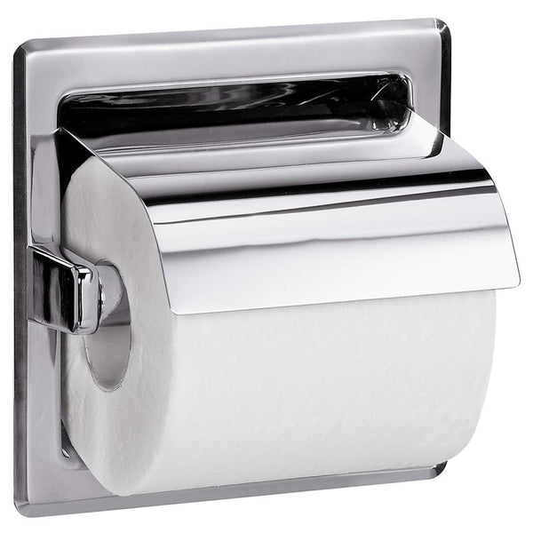 Bradley 5103-0000 Toilet Paper Dispenser w/ Hood Single Roll Recessed - Bright Polish