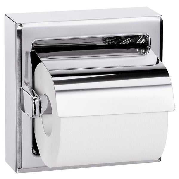 Bradley 5106-0000 Bradex Toilet Paper Dispenser w/ Hood Single Roll Surface Mounted - Bright Polish - Prestige Distribution