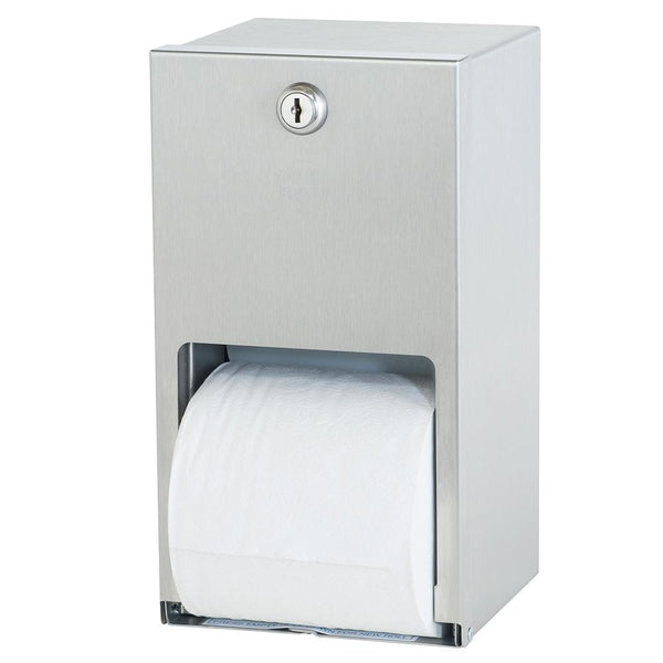 Bradley 5402-0000 Bradex Toilet Paper Dispenser Dual Roll Surface Mounted - Satin
