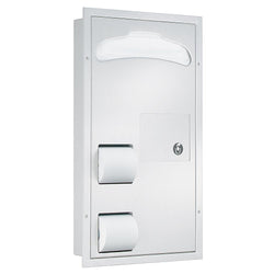 Bradley 5911-6900 Toilet Paper & Seat Cover Dispenser w/ Napkin Disposal Partition Mounted - Satin