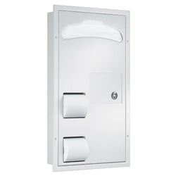 Bradley 5911-0000 Toilet Paper & Seat Cover Dispenser w/ Napkin Disposal Partition Mounted - Satin