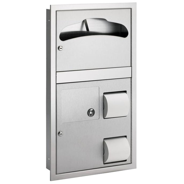 Bradley 5912-6900 Seat Cover w/ Toilet Paper Dispenser & Sanitary Napkin Disposal Reverse Door Recessed - Satin