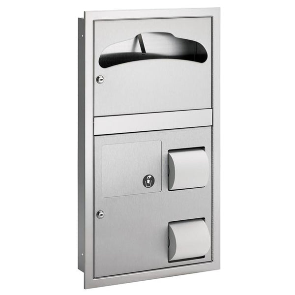 Bradley 592-0000 Toilet Paper & Seat Cover Dispenser Partition Mounted - Satin