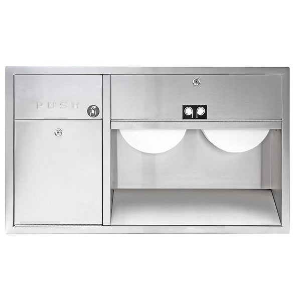 Bradley 5951-0000 Dual Roll Paper Towel Dispenser & Waste Receptacle Left Recessed - Satin