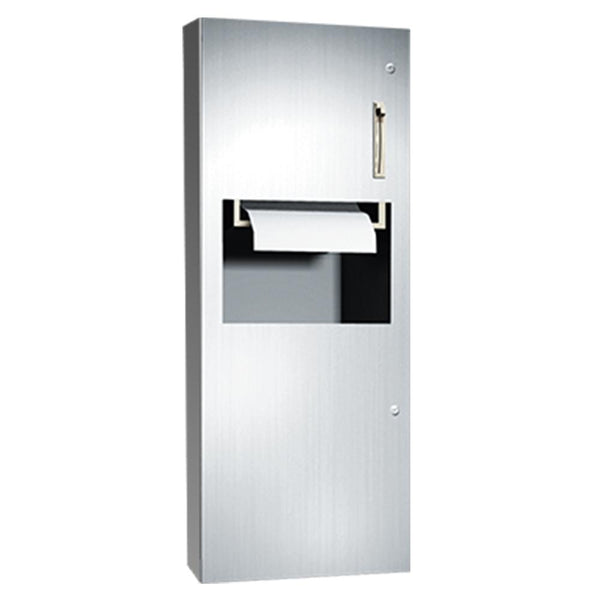 ASI 64696-6 Simplicity Roll Paper Towel Dispenser & Removable Waste Receptacle Semi-Recessed - Satin