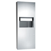 ASI 64696A-6 Simplicity Automatic Roll Paper Towel Dispenser & Waste Receptacle Semi-Recessed - Satin