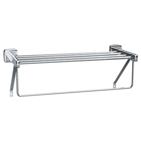 ASI 7310-18 Towel Shelf w/ Drying Rod & Support Bracket Surface Mounted