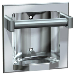 ASI 7410 Soap Dish w/ Bar Stainless Steel Dry Wall Holes Recessed