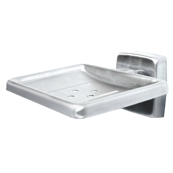 Bradley 9014-00 Bradex Soap Dish w/ Drain Hole Stainless Steel Surface Mounted - Satin - Prestige Distribution