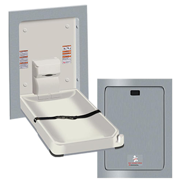 ASI 9017 Baby Changing Station Vertical Plastic Recessed - Satin - Prestige Distribution