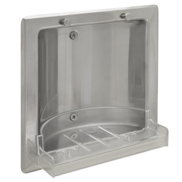 Bradley 935 Soap Dish w/ Removable Tray Stainless Steel Recessed