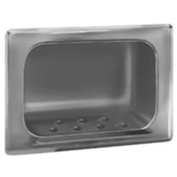 Bradley 9403-000 Bradex Soap Dish w/ Wall Clamp Stainless Steel Recessed - Satin