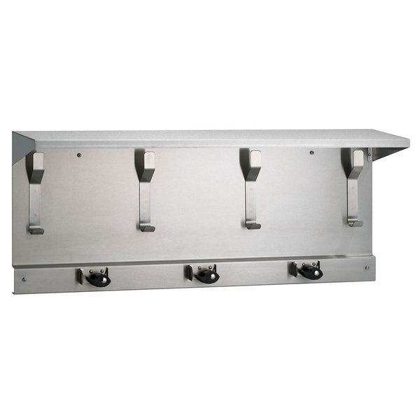 "Bradley 9933-000 Bradex Utility Shelf w/ 4 Hooks & 3 Holders 34"" - Satin - Prestige Distribution"