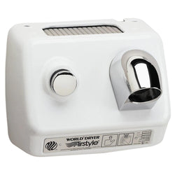World Dryer B-974CU AirStyle Model B Series Push Button Hand Dryer Cast Iron Surface Mounted - White