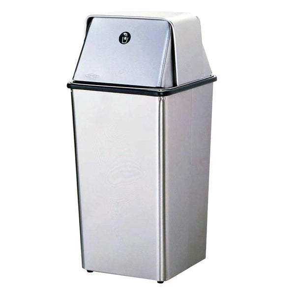 Bobrick B2250 Waste Receptacle w/ Top 13 Gal. Freestanding - Satin - Prestige Distribution
