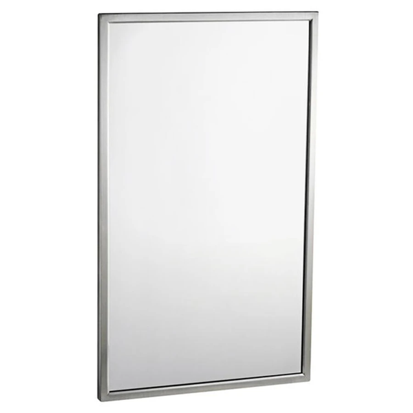Bobrick B2908 2436 Mirror Welded Angle Framed Surface Mounted Tempered Glass - Satin