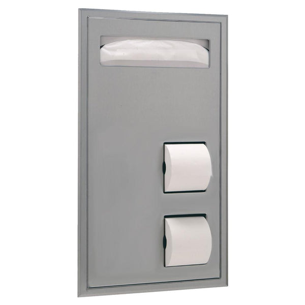Bobrick B34715 ClassicSeries Seat Cover & Toilet Paper Dispenser Partition Mounted - Satin