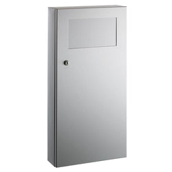 Bobrick B35639 TrimLineSeries Waste Receptacle w/ Disposal Door 3 Gal. Surface Mounted - Satin
