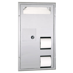 Bobrick B35715 ClassicSeries Seat Cover Dispenser w/ Toilet Paper Dispenser & Sanitary Disposal Partition Mounted - Satin