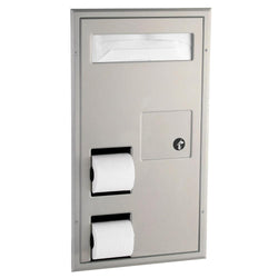 Bobrick B3571 ClassicSeries Seat Cover Dispenser w/ Toilet Paper Dispenser & Sanitary Disposal Partition Mounted - Satin