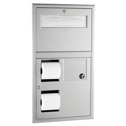 Bobrick B35745 ClassicSeries Seat Cover Dispenser w/ Toilet Paper Dispenser & Sanitary Disposal Recessed - Satin