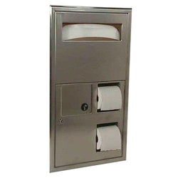 Bobrick B3574 ClassicSeries Seat Cover Dispenser w/ Toilet Paper Dispenser & Sanitary Disposal Recessed - Satin