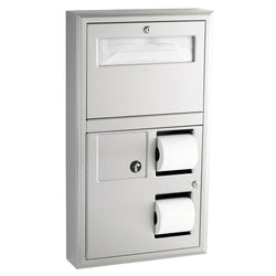 Bobrick B3579 ClassicSeries Seat Cover Dispenser w/ Toilet Paper Dispenser & Sanitary Disposal Recessed - Satin