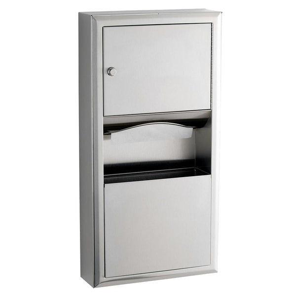 Bobrick B3699 ClassicSeries Paper Towel Dispenser & Waste Receptacle Surface Mounted - Satin