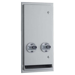 Bobrick B3706 ClassicSeries Sanitary Napkin & Tampon Dispenser Recessed/Semi-Recessed - Satin