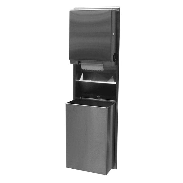 Bobrick B39617 ClassicSeries Convertible Paper Towel Dispenser & Waste Receptacle Recessed - Satin
