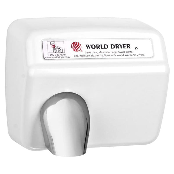 World Dryer DXA52-974AU Model A Series Automatic Hand Dryer Stamped Steel Surface Mounted - White - Prestige Distribution
