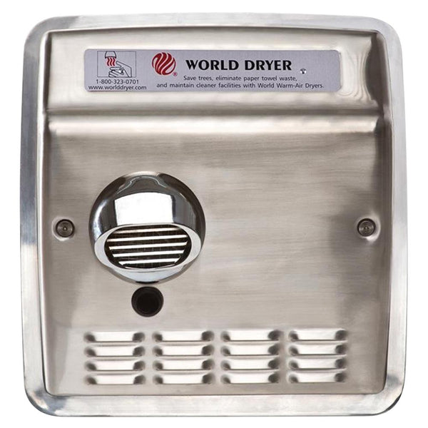 World Dryer DXRA5-Q973AK Model A Series Automatic Hand Dryer Stainless Steel Recessed - Brushed
