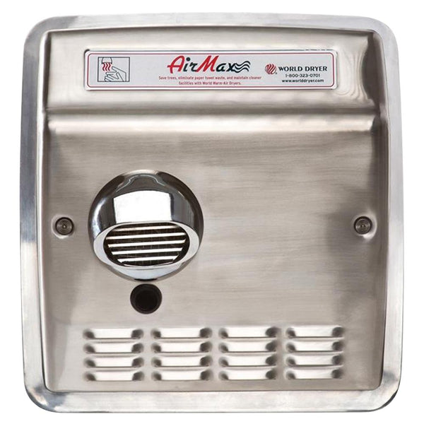 World Dryer DXRM5-Q973AK AirMax Automatic Hand Dryer Stainless Steel Recessed - Brushed
