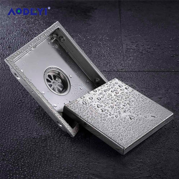 AODEYI Floor Drain Tile Insert Square Floor Waste Grates Bathroom Shower Drain 110 x 110MM And 150x 150MM 304 Stainless Steel