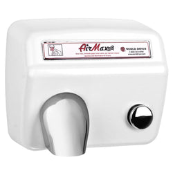 World Dryer M5-974A AirMax Push Button Hand Dryer Cast Iron Surface Mounted - White