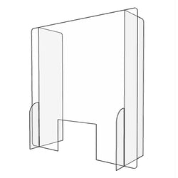 "Gemini PSG3232-WW-25 Paneled Sneeze Guard 1/4"" Acrylic 32"" x 32"" w/ Cutout Window"