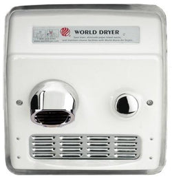 World Dryer RA5-Q974AK Model A Series Push Button Hand Dryer Cast Iron Recessed - White