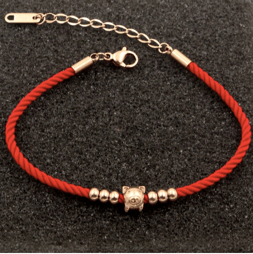 Handmade Red Rope Bangle Charm Lucky Bead Cute Pig Bracelet